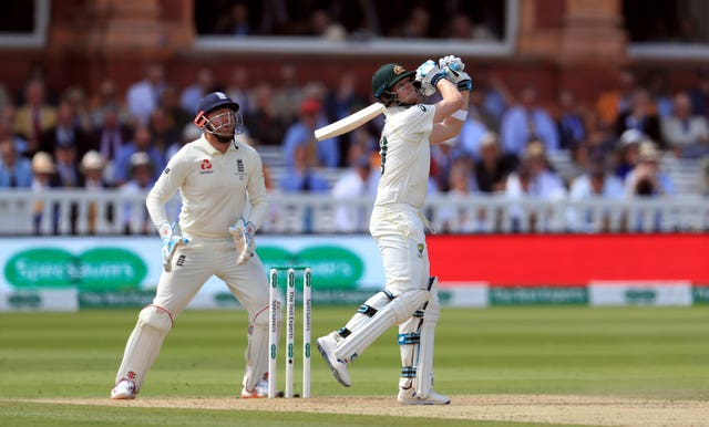 Smith lofted Leach for four to bring up his half-century