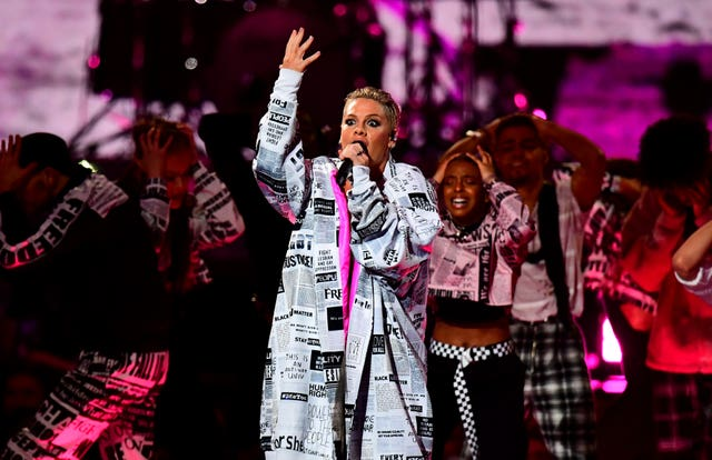 Pink performs on stage at the Brit Awards