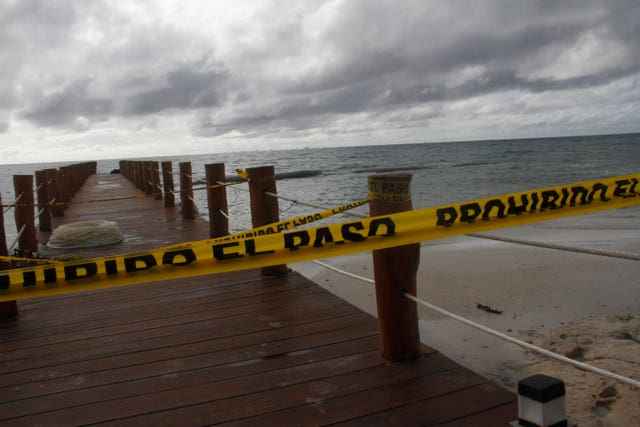 A dock is closed to the public before Hurricane Delta arrives near Playa del Carmen
