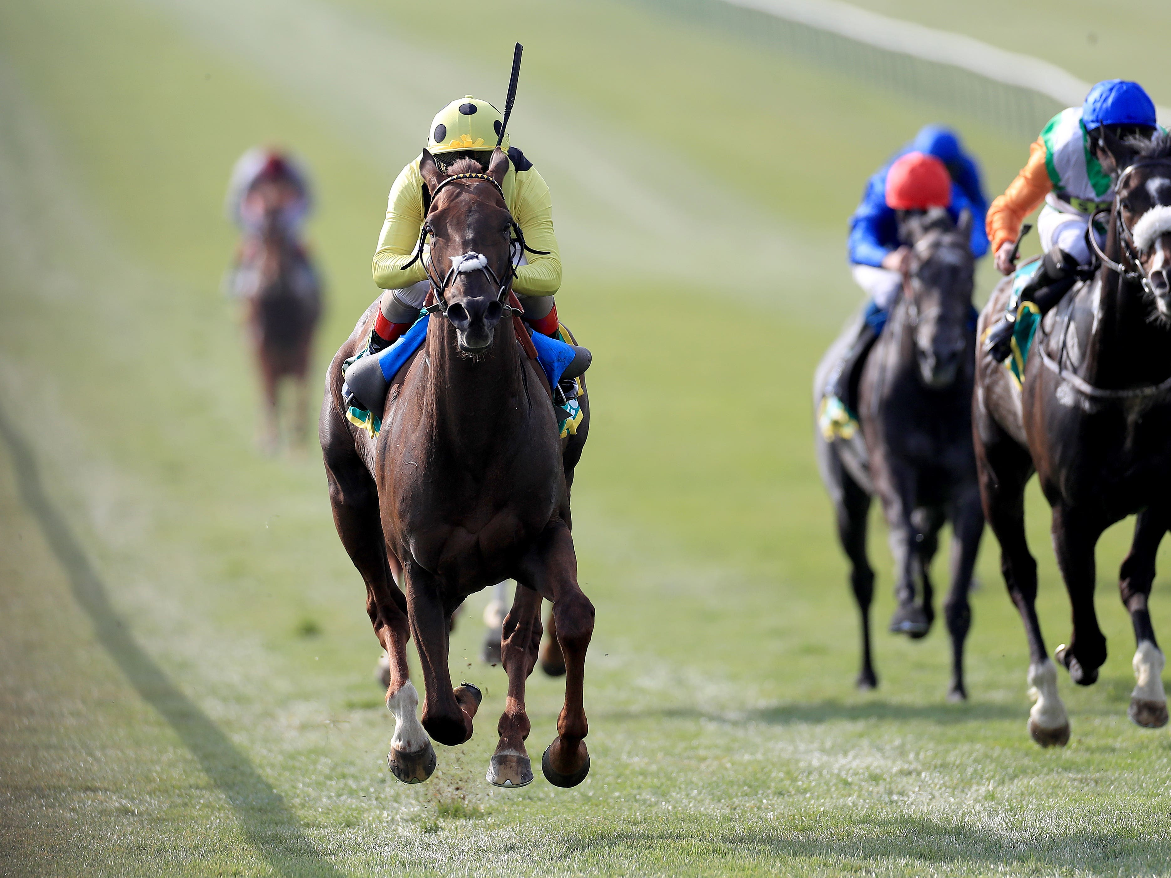 Zabeel Prince and Andrea Atzeni seen winning the Earl of Sefton Stakes at Newmarket (Mike Egerton/PA)