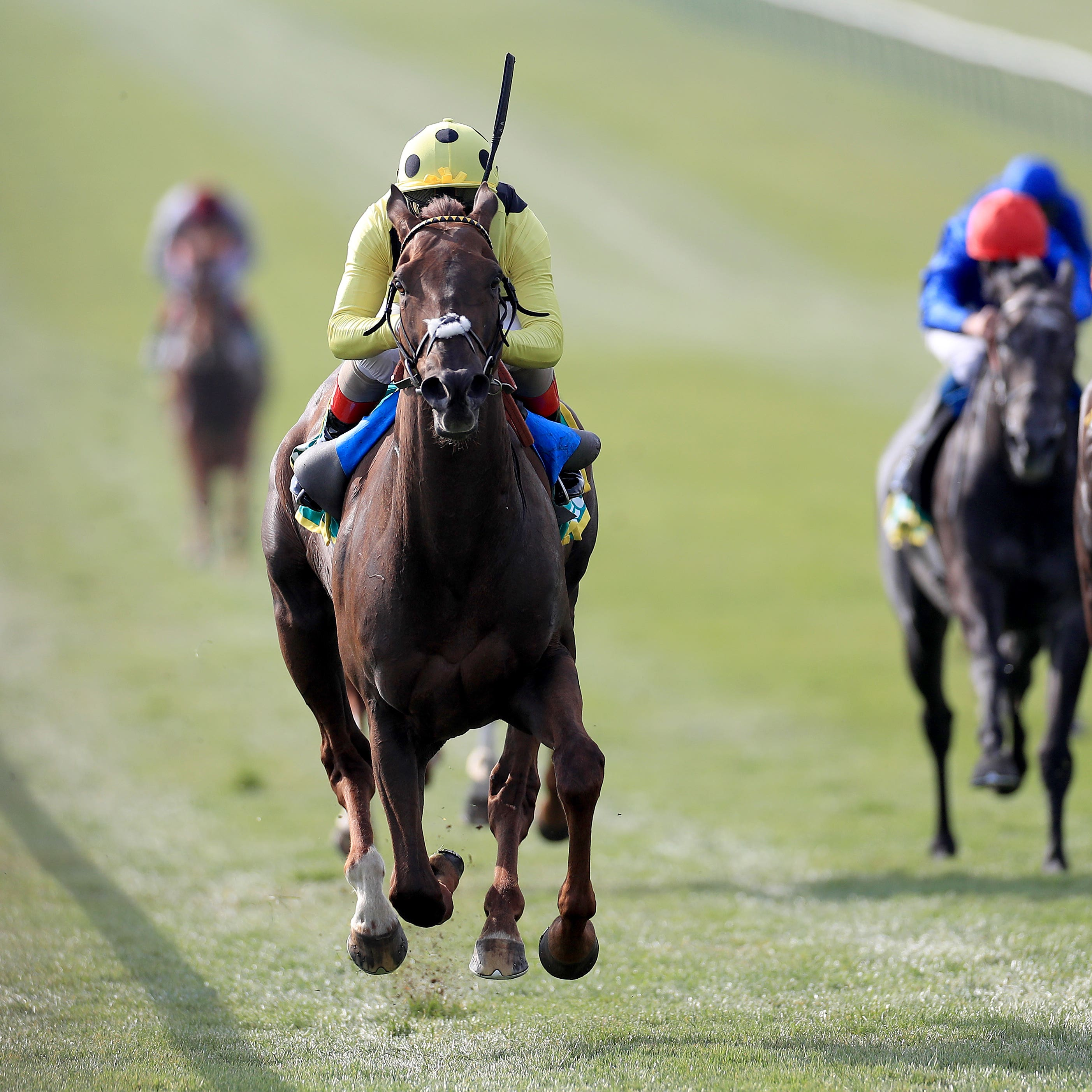 Zabeel Prince and Andrea Atzeni seen winning the Earl of Sefton Stakes at Newmarket (