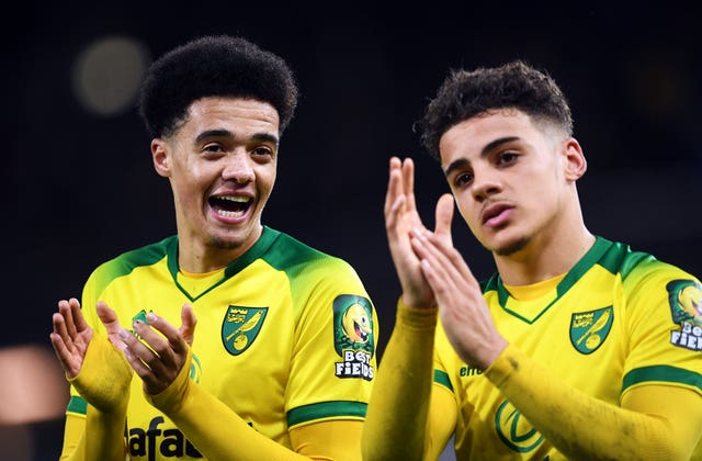 Jamal Lewis (left) hit the winner as Norwich beat Leicester at Carrow Road last Friday.