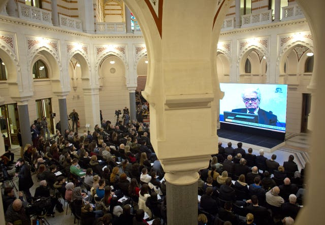 The UN court's conviction and sentencing of ex-Bosnian Serb leader Radovan Karadzic is broadcast in the city hall in Sarajevo