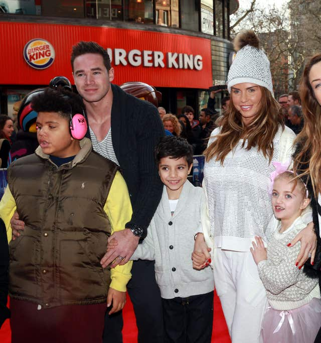 Katie Price and Kieran Hayler with her children Harvey, Junior and Princess