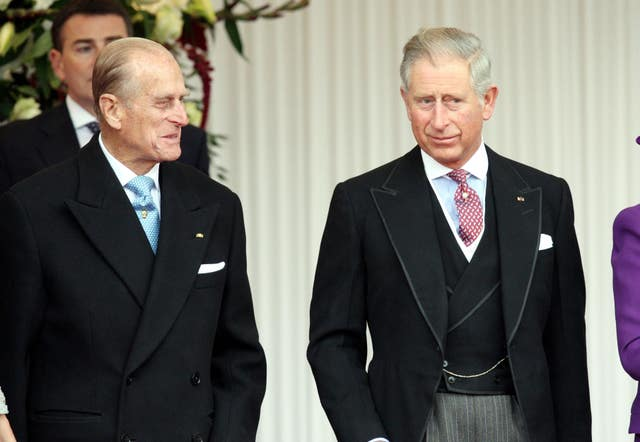Philip and Charles at Windsor Castle