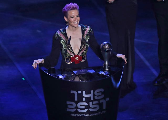 Megan Rapinoe was named women's player of the year at the Best FIFA Football Awards