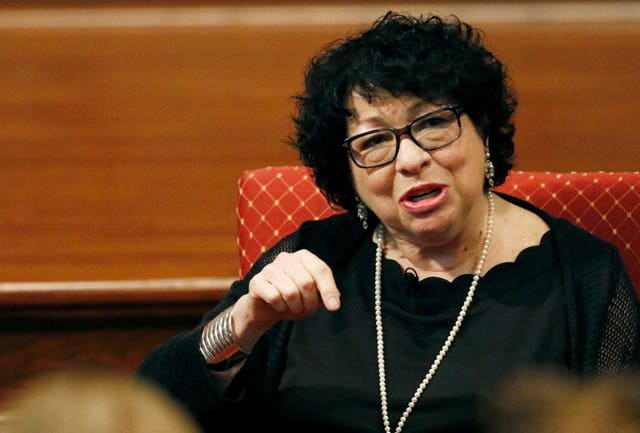 US Supreme Court associate justice Sonia Sotomayor (Rogelio V. Solis/AP)
