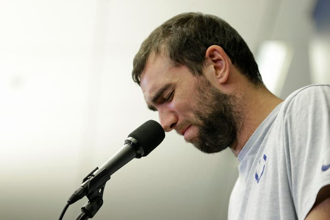 Indianapolis Colts quarterback Andrew Luck gets emotional as he announces his retirement aged 29