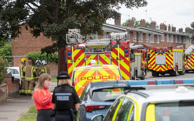 Emergency services at a flat on Oxford Avenue in Gorleston-on-Sea, Norfolk after the bodies of a man and a woman were discovered in the property