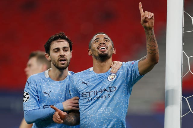 Bernardo Silva (left) and Gabriel Jesus (right) scored City's goals in Budapest