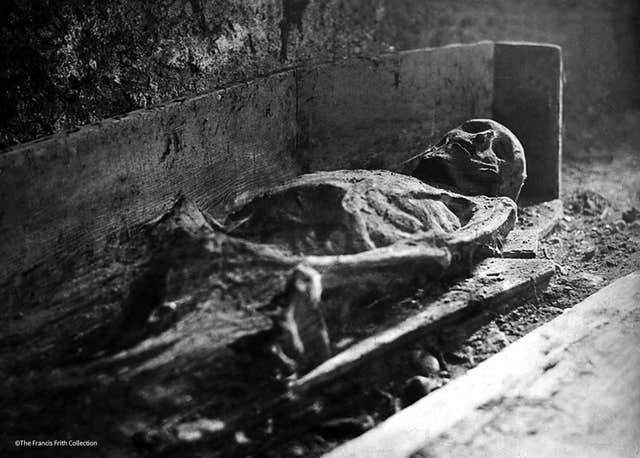 A historic photo of one of the mummies lying in the crypt of St Michan's
