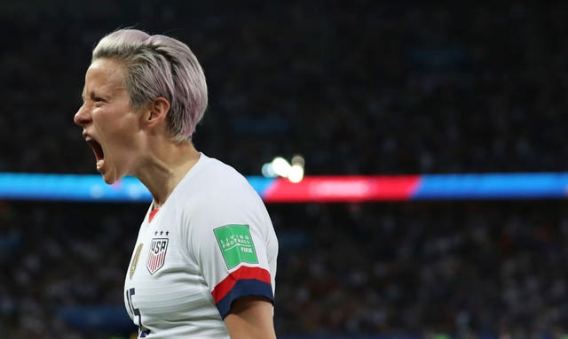 Megan Rapinoe celebrates putting the United States 2-0 up
