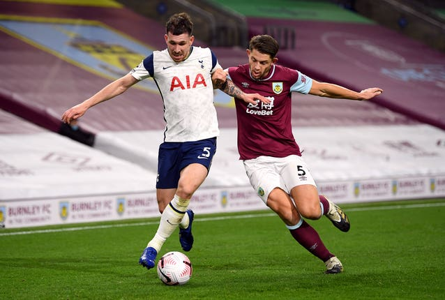 James Tarkowski, right, believes Burnley have reasons to remain positive despite defeat to Spurs (Michael Regan/PA)