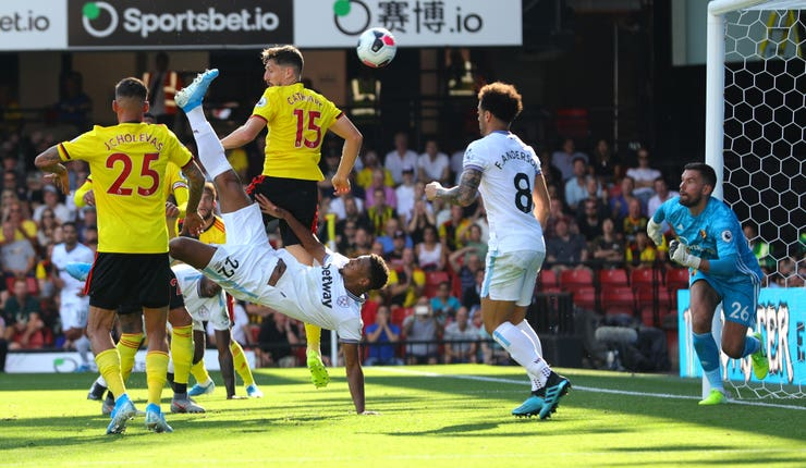 Sebastien Haller scored with an acrobatic effort as his two goals secured West Ham a 3-1 win at Watford