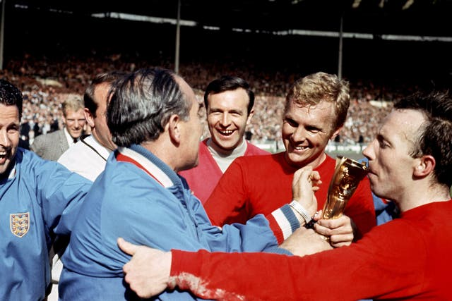 Nobby Stiles kisses the trophy after victory over West Germany in the 1966 World Cup final