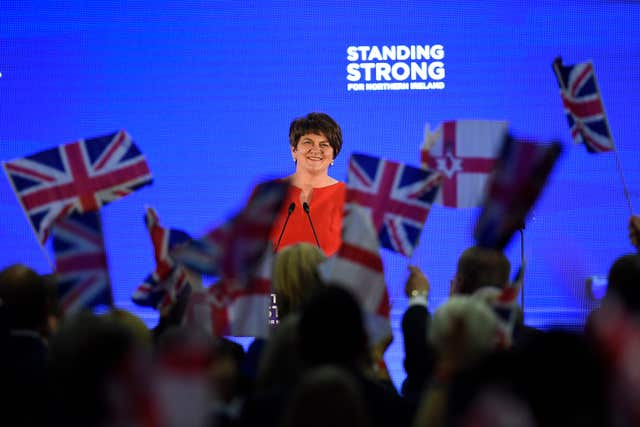 DUP leader Arlene Foster at her party's annual conference in 2017 (Michael Cooper/PA)