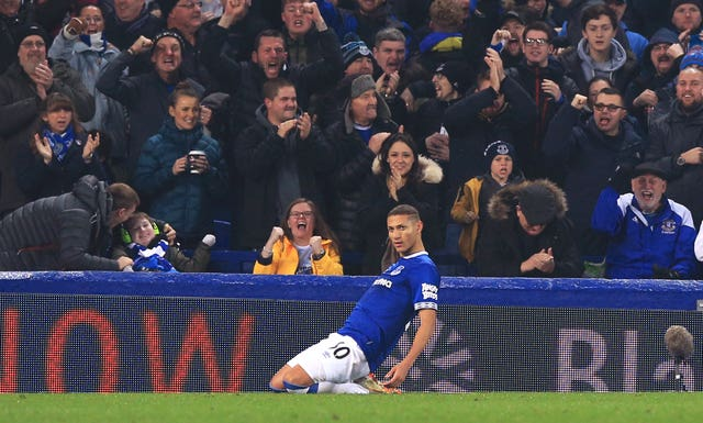 Richarlison celebrates scoring the equaliser