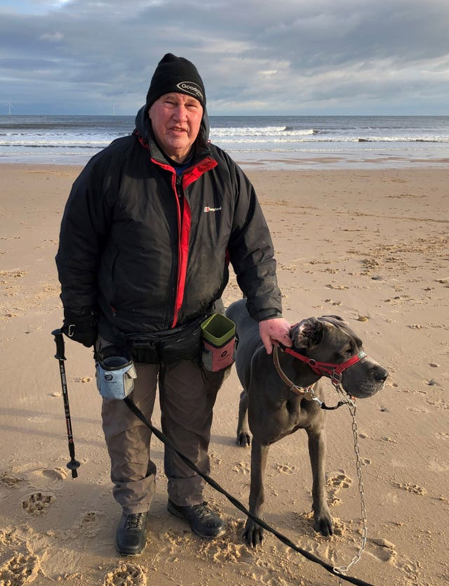 Keith Ritson with his Great Dane Ge-He, who voted Conservative in Blyth Valley, Northumberland