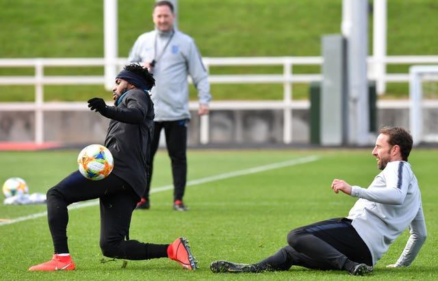 England manager Gareth Southgate takes part in training