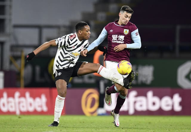 Anthony Martial appeared to pick up a hamstring issue at Burnley
