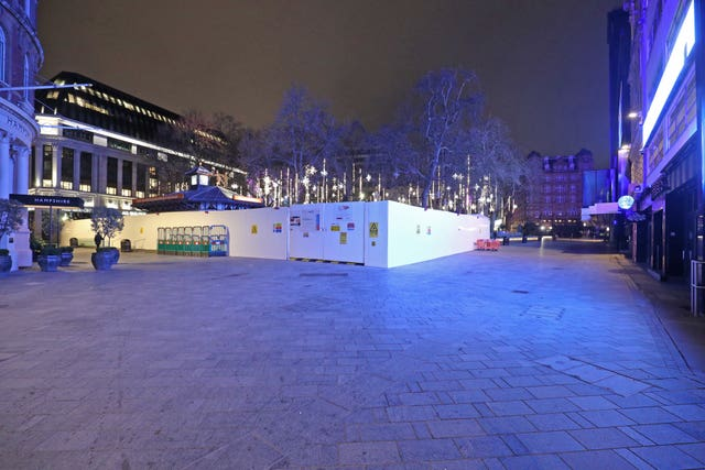 A near-empty Leicester Square, as London's New Year fireworks were cancelled