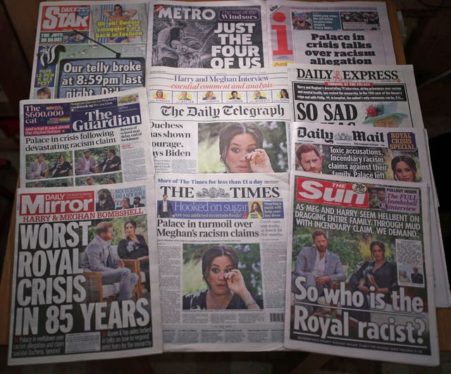 The front pages of UK national newspapers after the interview with Oprah Winfrey