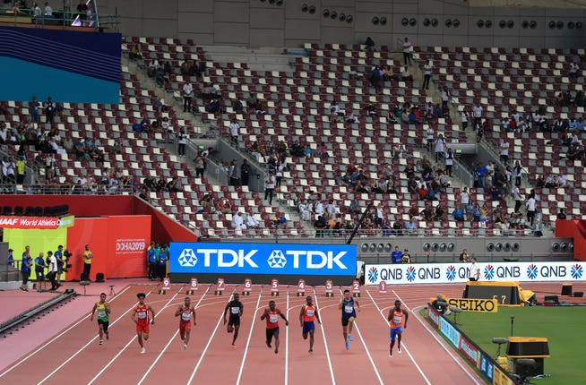 There were plenty of empty seats at the Khalifa International Stadium on the opening night of action