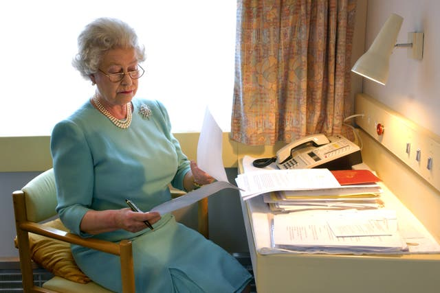 The Queen at work aboard the Royal Train