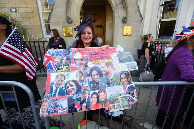 Picture perfect: one fan pays homage to the royal couple with a colourful montage (Gareth Fuller/PA)
