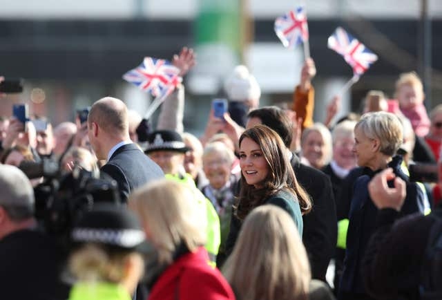 William and Kate arriving for a visit to the Fire Station arts centre in Sunderland (Jane Barlow/PA)