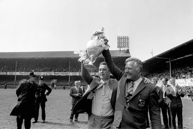 Clough (left) and his assistant Peter Taylor (right) after winning the title in 1972