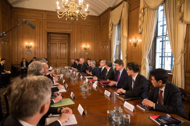 Prime Minister Theresa May hosts a roundtable with Japanese investors in the UK at 10 Downing Street (Daniel Leal-Olivas/PA)