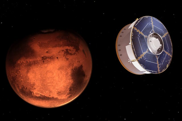 An illustration depicts the Mars 2020 spacecraft carrying the Perseverance rover