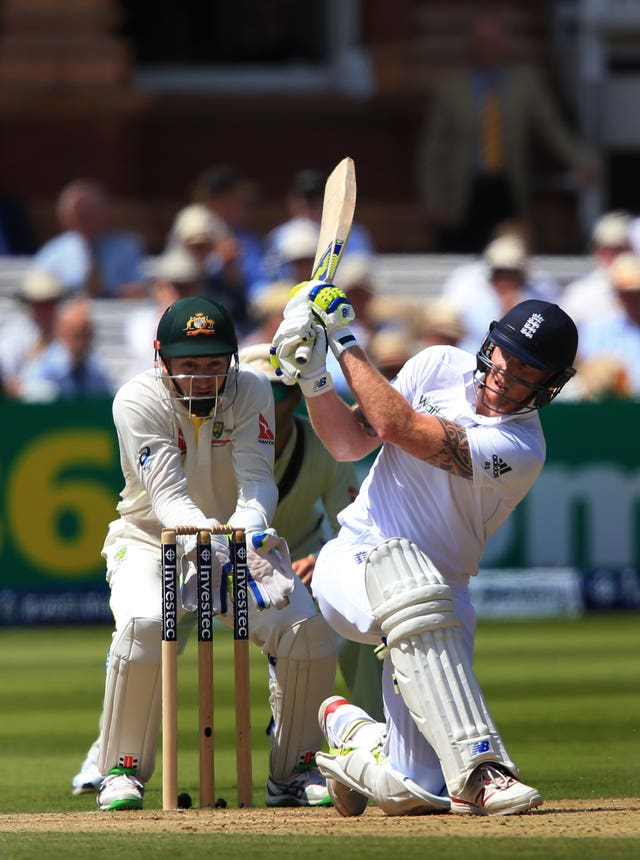 Ben Stokes hits out off Nathan Lyon, not pictured