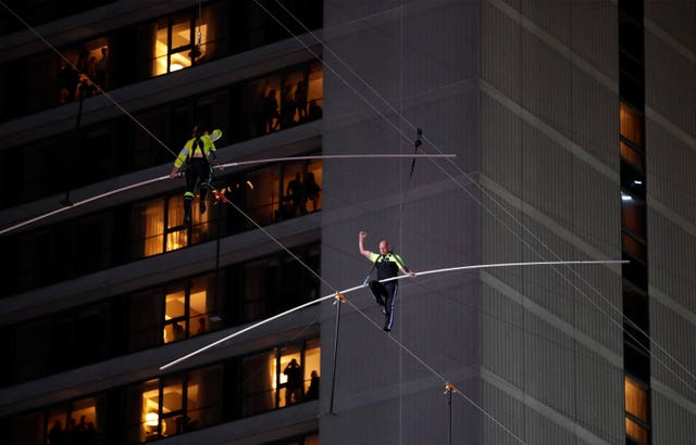 Nik Wallenda was joined by his sister Lijana for the daring stunt