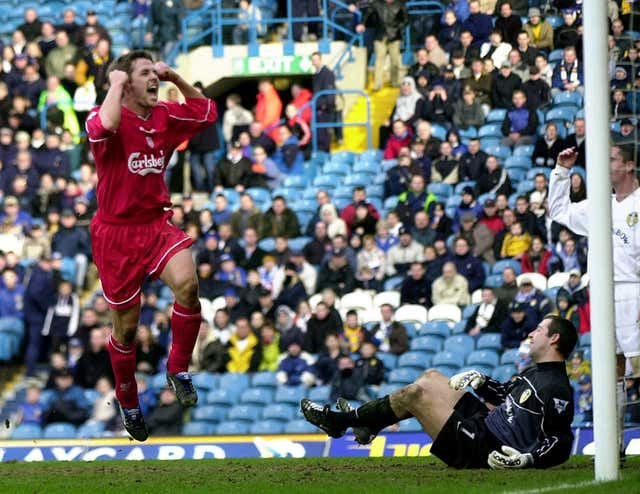 Michael Owen scores at Elland Road in 2002