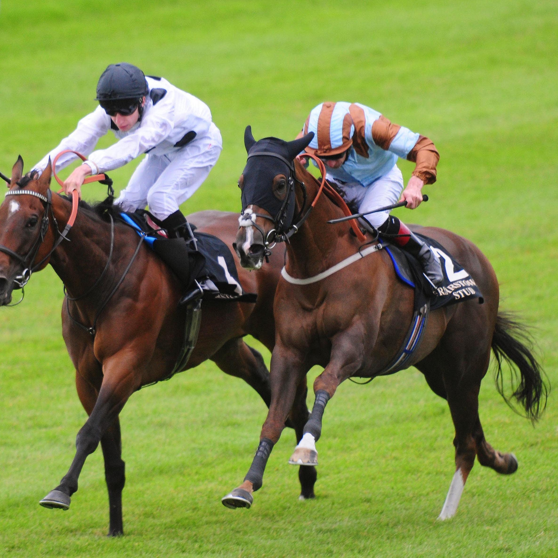 Caspian Prince (right) won the Friarstown Stud Sapphire Stakes in 2017