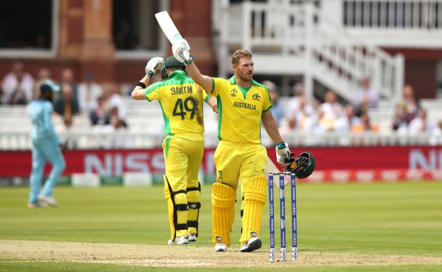 Australia's Aaron Finch celebrates his century