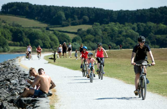 People riding bikes at Carsington Water in Derbyshire