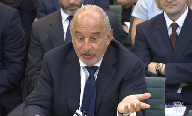 Sir Philip Green gives evidence to the Business, Innovation and Skills Committee (PA)