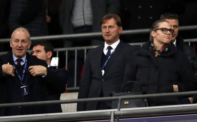 Ralph Hasenhuttl, centre, took a watching brief as Southampton lost at Wembley