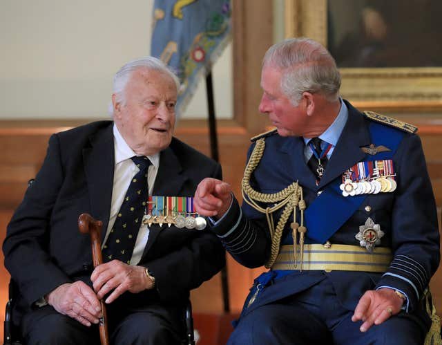 Battle of Britain veteran Squadron Leader Geoffrey Wellum with the Prince of Wales