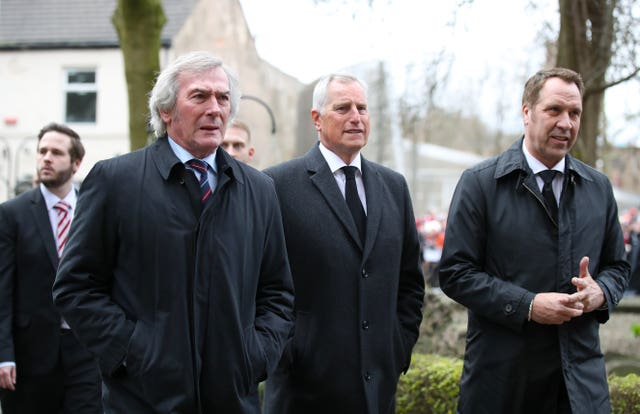 Former goalkeepers Pat Jennings (left), Clemence and Seaman attended the funeral service for Gordon Banks at Stoke Minster during March 2019