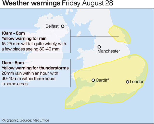 Weather warnings for Friday August 28