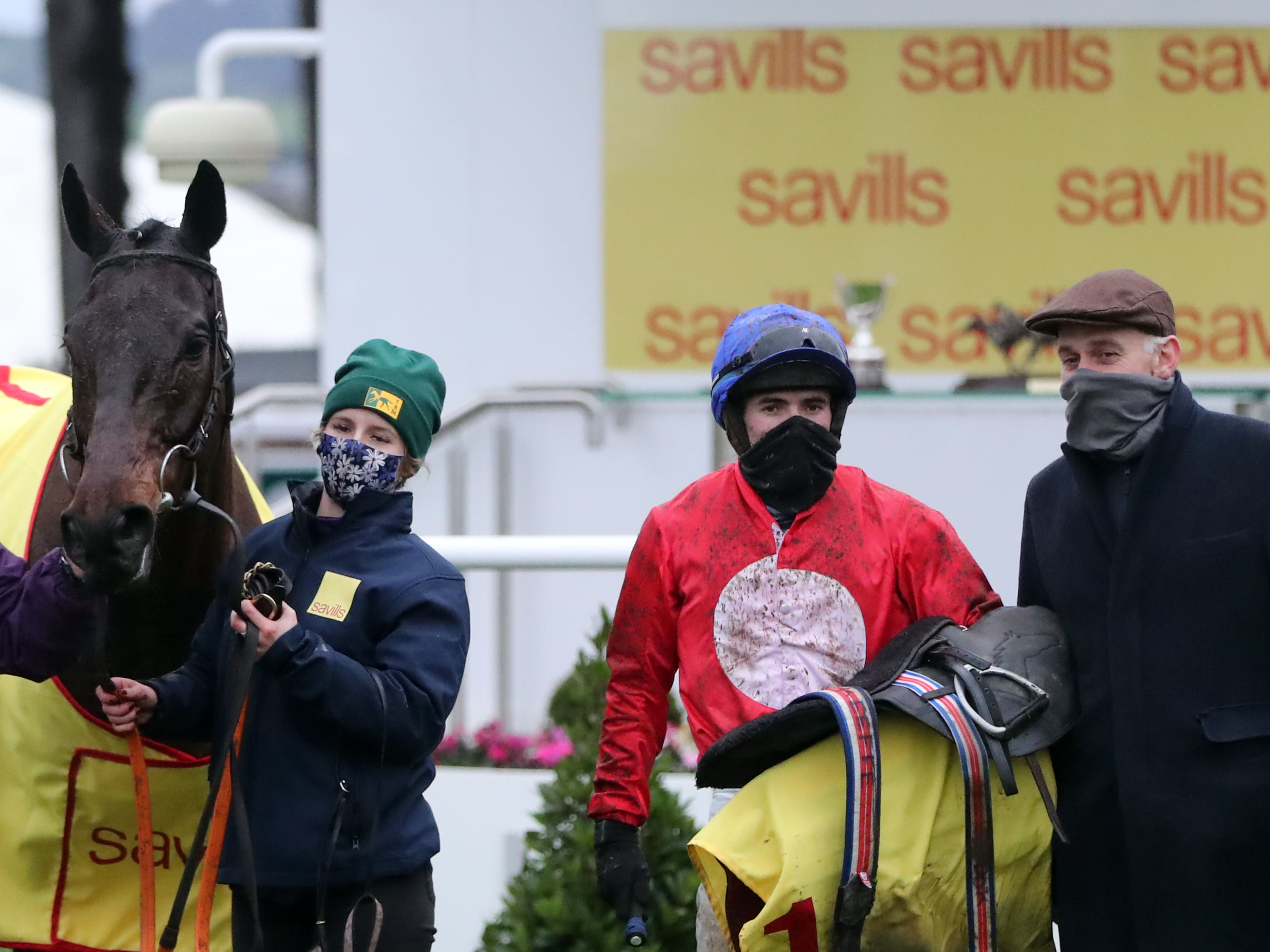 Darragh O'Keeffe with Trainer Henry De Bromhead (right) after A Plus Tard's big win (PA Wire)
