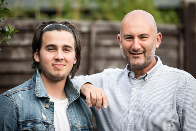 Richard Stevens with his 16-year-old son Oscar