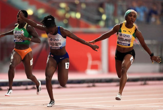 Dina Asher-Smith, left, finished second behind Jamaica's Shelly-Ann Fraser-Pryce