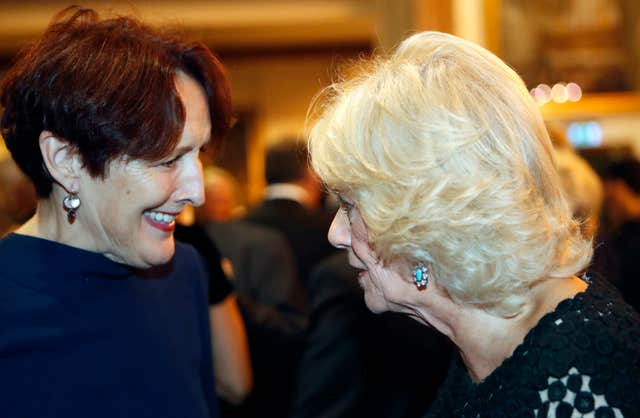 Duchess of Cornwall with actress Fiona Shaw