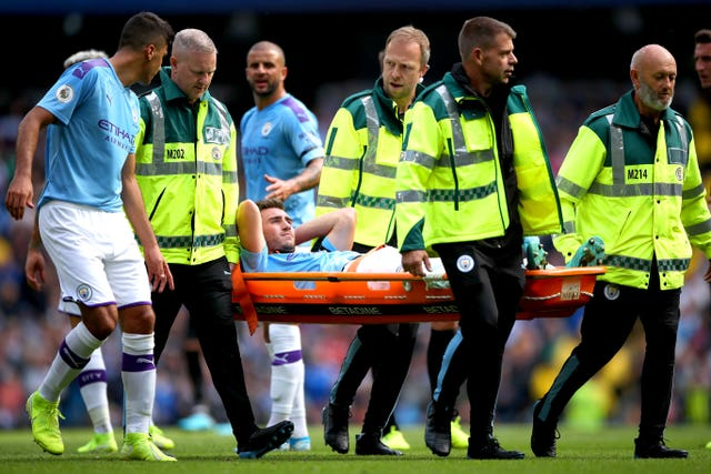 Laporte left the field against Brighton on a stretcher