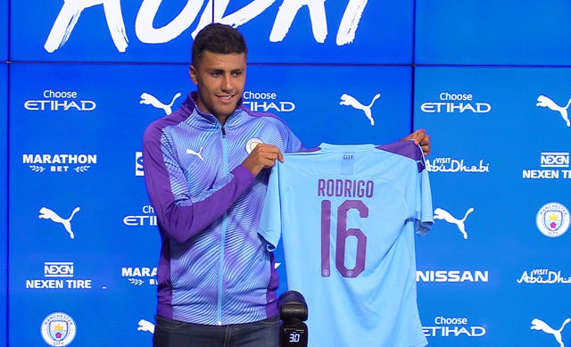 Rodri became Manchester City's club record signing on July 4